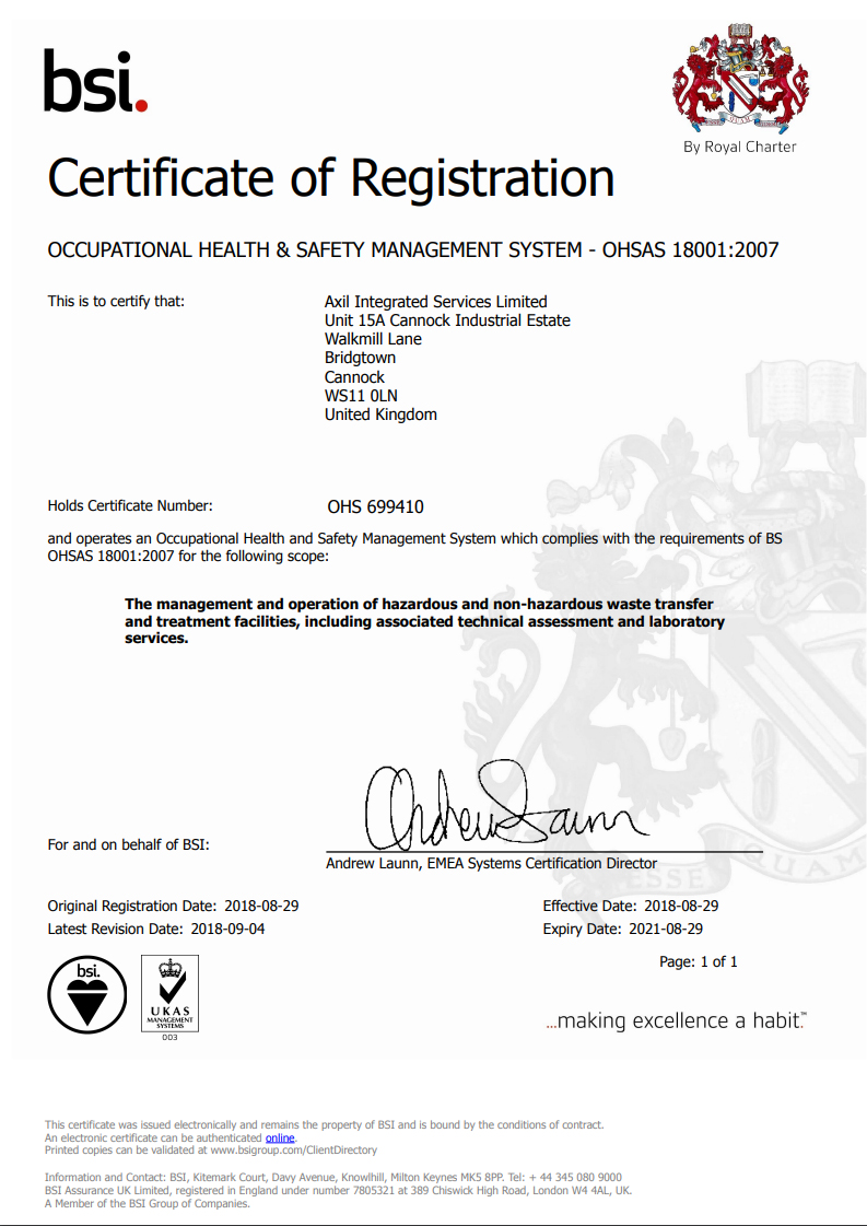 Occupational Health Safety Management System Ohas 18001 2007