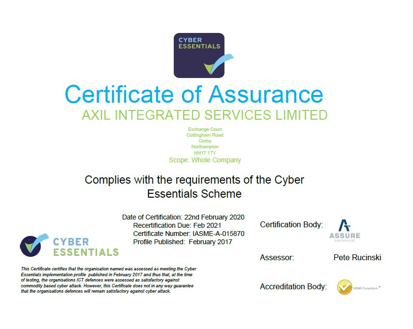 cyber security certificate certificates axil